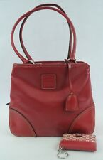 Liz Claiborne Red Faux Leather Handbag with Matching ID/Card/Photo Wallet (P)