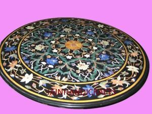 """30"""" Black Marble Table Top Center Dining Inlay Lapis Mosaic Home Decor G785"""