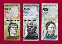 500 Bolivares 2017 (P-94) & 1000 Bolivares 2017 (P-95b) & 2000 Boliv 2016 (P96b)