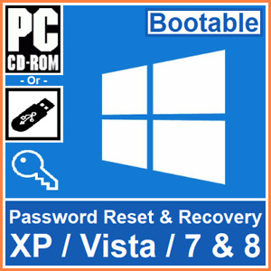 Bootable Windows XP, Vista, 7 And 8 Password Reset, Recovery Or Remove software
