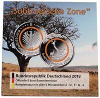 BRD 5 x 5 Euro Subtropische Zone 2018 ADFGJ Stempelglanz im Blister