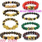 Feng Shui Green Onyx Black Obsidian Beads Wealth Golden Pixiu Lucky Bracelet ^ly