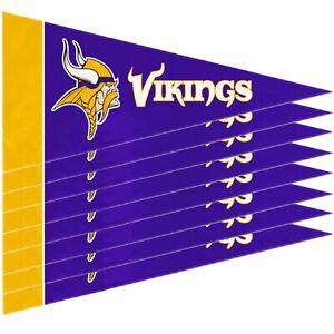 """New Minnesota Vikings Mini Pennant Banner Flags 4"""" x 9"""" Fan Cave Decor 8 Pk Set"""