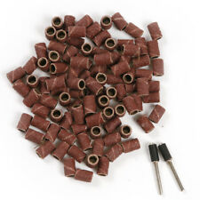 100Pcs 6.35mm Sanding Bands Sleeves And 2 Mandrels  And Rotary Tools