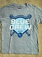 NEW KANSAS CITY ROYALS KIDS M GRAY BASEBALL SHIRT T-SHIRT KC MLB CHARLIE HUSTLE