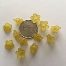 50 pcs Cute Frosted Dark Yellow 13mm 5 Petal Acrylic Flower Beads