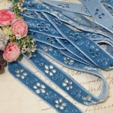 "1y 5/8"" VTG SKY BLUE CUT OUT VELVET LACE RIBBON TRIM BOHO CHOKER DOLL JACQUARD"