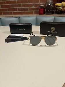 Versace 0 VE 2212 Sunglasses Gold Frame Dark Grey Lens
