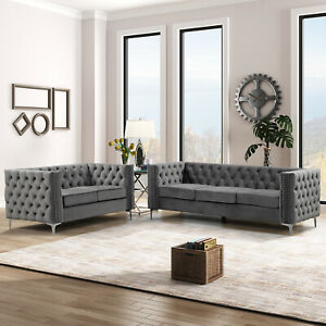 Morden Fort Loveseat and Sofa with Dutch Velvet Grey,Wood Frame and Iron Legs