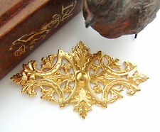 BRASS Art Nouveau Leaf Stamping ~ Jewelry Plaque Cartouche Finding (FC-4)