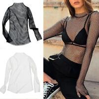 Women Mesh Fishnet Cropped Tops Long Sleeve Hollow Blouse T-Shirt Party Clubwear