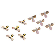 10pcs Rhinestone Alloy Bee Buttons Crystal Flatback Embellishment DIY Craft