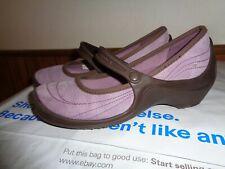 Lavender Purple Suede Crocs Women's Size 8 Wedge Mary Jane
