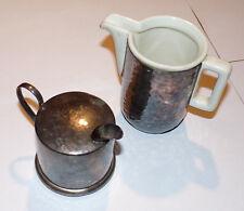 Milchkanne Känchen aus Keramik und Silber von WMF D.B.G.M. Feinsilber H.K.E