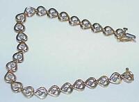 "10K 26 Diamond Heart Link Tennis Bracelet 7 1/4"" Yellow Gold Vintage Solid"