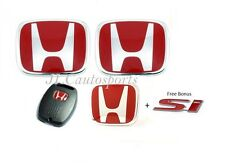 4pcs JDM Red H Emblem 06-11 Front+Rear+steering wheel+key Honda Civic Sedan SI