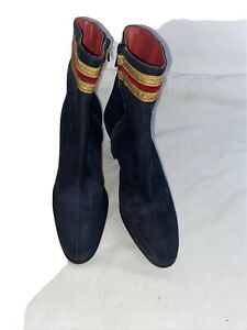 Mondi Accessories Ladies Blue Zip Suede Ankle Vintage Boots Uk 5 Slim Feet & Leg