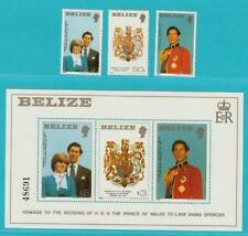 Belize Royal Wedding 1981 ** postfrisch MiNr. 554-556 A + Block 32
