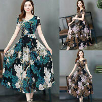 Fashion Womens O-Neck Short Sleeve Long Printed Slim A-Line Casual Dress 2020