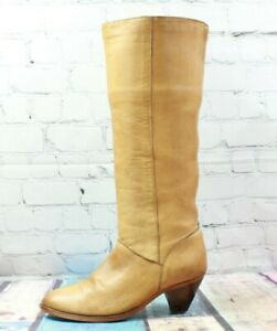Vintage Frye Women's Brown Leather Knee High Heeled Boots Size 7