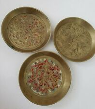Set of 3 ~ Vintage INDIA Brass Ornate Coasters Nut Sauce Dishes