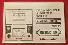 Rare Notice originale GREEN HOUSE game & watch Nintendo en Français !!