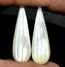 52.94 Cts Natural Mother Of Pearl Hand Made Carving Pair 37x12 mm Drops Gemstone