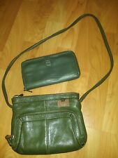 Tignanello Olive Green Pebble Leather Organizer Swing Pack & Zip-Around Wallet