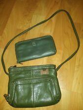 Tignanello Olive Green Pebble Leather Organizer Swing Pack & Zip-Around Wallet