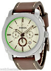 Fossil FS5108 Machine Cream Dial Leather Strap Chronograph Men's Watch