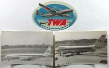 Vintage TWA Luggage Label Two Photographs Boeing 747 Star Stream 707