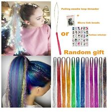 2000 Strands Hair Tinsel Kit Dazzle Glitter Extensions Sparkling Shiny 12 Colors