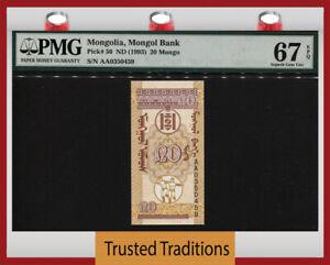 TT PK 50 ND (1993) MONGOLIA MONGOL BANK 20 MONGO PMG 67 EPQ SUPERB GEM UNC!