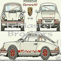 """PORSCHE 911 """"Carrera RS 2.7 1973""""  (Grande fiche Affiche / Poster dessin)"""