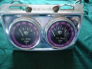 Dual Arctic Cat Cly.Head Temp gauges original mounting early 70's
