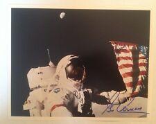 Astronaut Gene Cernan Autographed Photograph on Moon with Flag (Apollo 17)