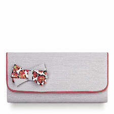 NEW Ruby Shoo Barcelona Cute Bow Clutch Bag Navy Fuchsia / Grey Coral Stripe