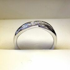 0.20 Carat Round Diamond Twist Half Eternity Ring Crafted in Heavy White Gold
