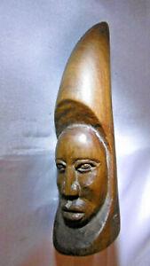 visage sculpté bois en forme de corne