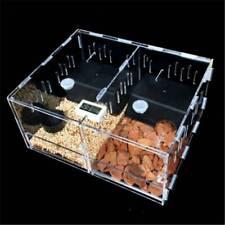 2-Grid Acrylic Reptile Cage Breeding Box Tarantula Insect Lizard Clear Pet Tank
