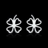 NEW 925 Sterling Silver Filled Lucky Flower Clover Stud Earrings AU Stock Gift