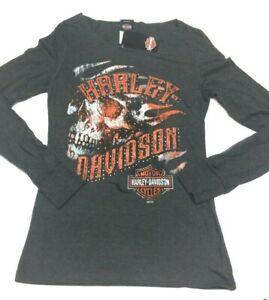 Harley-Davidson Women's Gray with Bling Open neck Skull Long Sleeve shirt M
