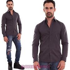 Camisa casual hombre básico slim fit color liso algodón de manga larga 150683