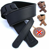 Genuine Leather Guitar Strap Electric Acoustic Bass Soft Padded UK Handmade