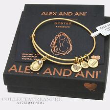 Authentic Alex and Ani Oyster (ii) Rafaelian Gold Charm Bangle