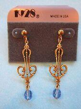1928 TWO ORNATE DROP DANGLE SHAPED STUD PIERCED EARRINGS GOLD TONE METAL JEWELRY