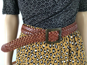 Vintage Brown braided Leather BELT square brass buckle full grain cow hide