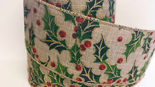 1m x Hessian Holly Berry Wide Ribbon Christmas Cake Gisela Graham Vintage