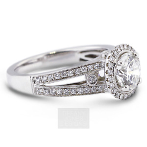 1 3/4ct E VS2 Round Earth Mined Certified Diamonds 18k Gold Halo Side-Stone Ring