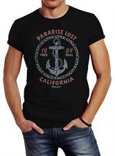 Neverless® Herren T-Shirt Anker Motiv maritim Schriftzug California Paradise